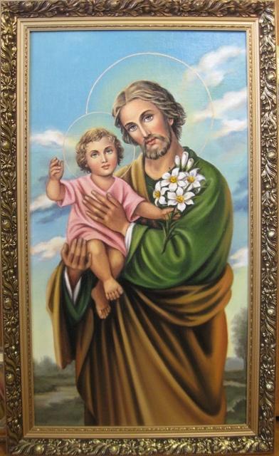Jadwiga Senko. SV.Joseph Jesus icon Catholic (oil on canvas)