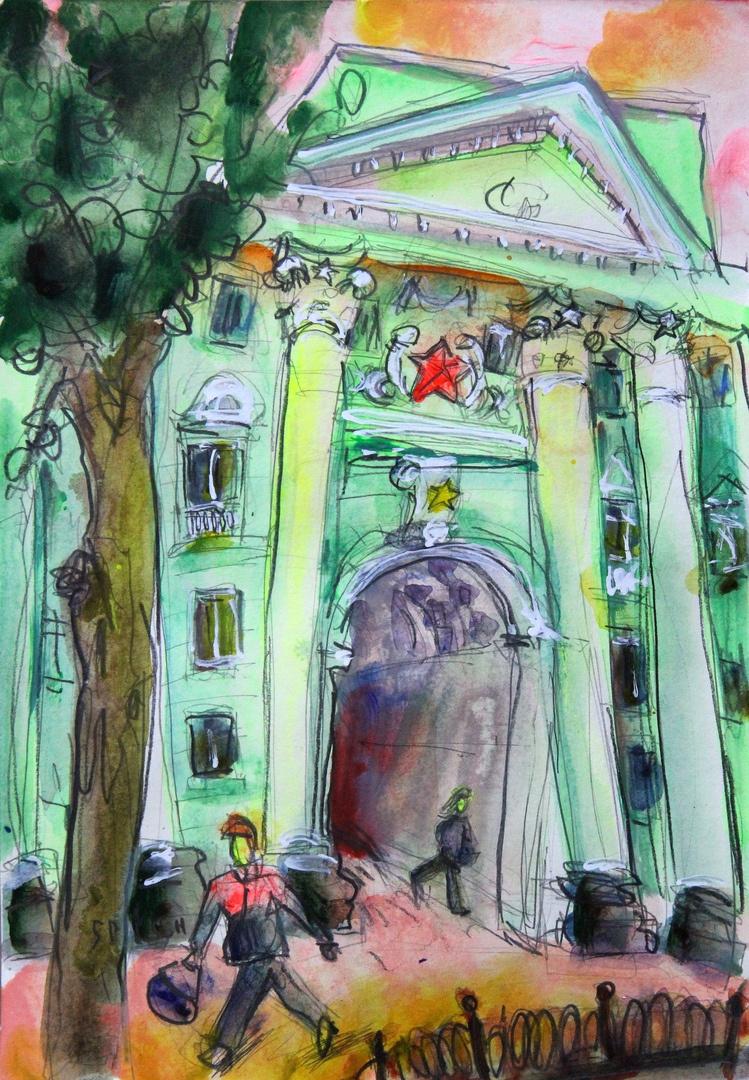 Ilya Pavlovich Spichenkov. On the first house on the street Dzerzhinsky painted stars