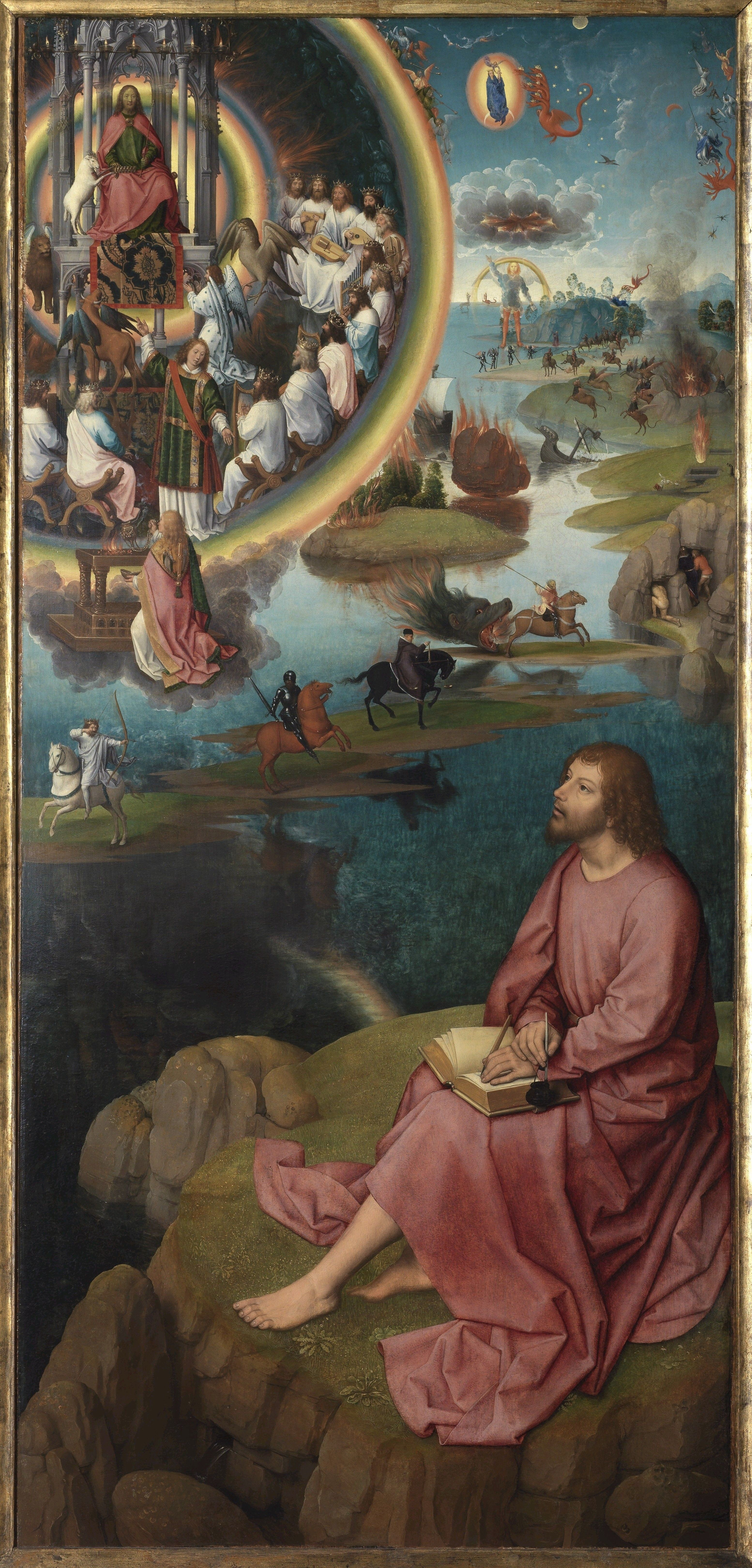 Hans Memling. The mystical betrothal of St. Catherine of Alexandria. Triptych. Right wing: Saint John the Evangelist on Patmos