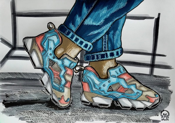 Larissa Lukaneva. Blue sneakers. Sketch.