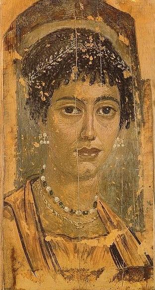 Fayumsky portrait. Portrait of girl in jewelry