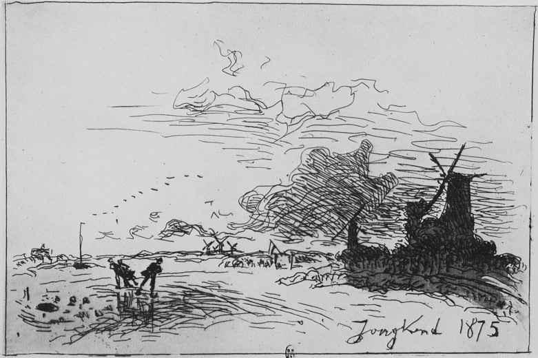 Ян Бартолд Йонгкинд. Канал в Голландии в окрестностях Роттердама. Зима