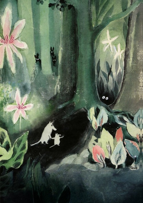 """Tove Jansson. Cover for T. Jansson's story """"Little trolls and a big flood"""""""