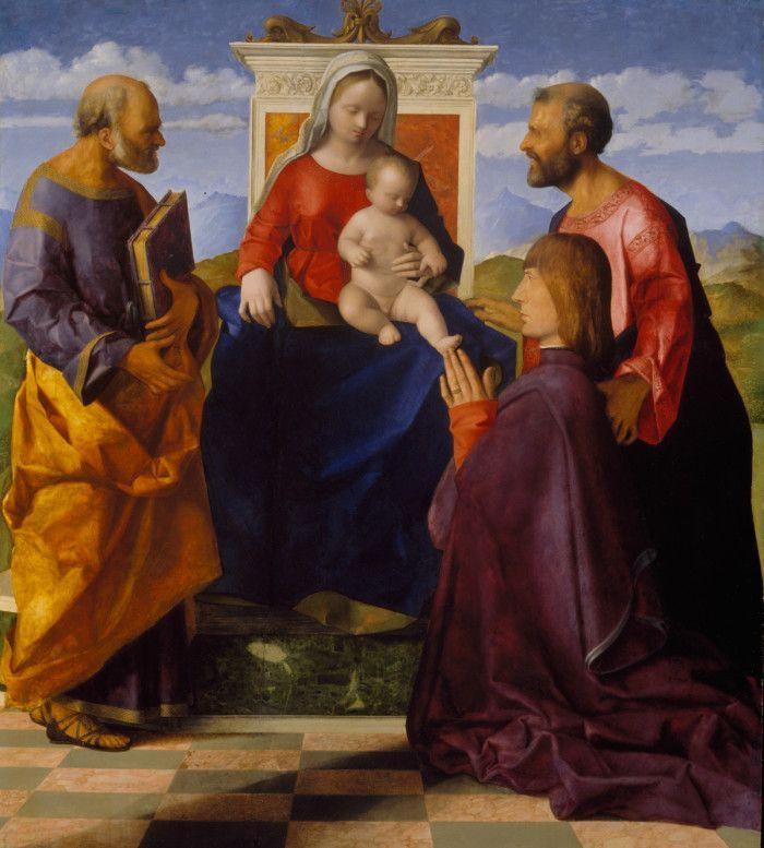 Джованни Беллини. Мадонна с младенцем, святыми Петром, святым Марком и заказчиком