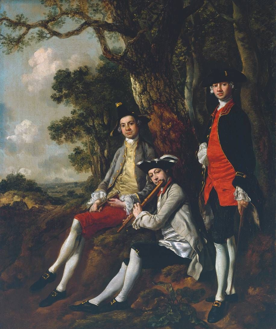 Thomas Gainsborough. Peter Darnell Wilman, Charles Crockatt and William Kill in a landscape