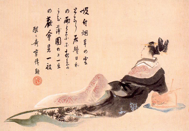 Кацусика Хокусай. Отдыхающая гейша