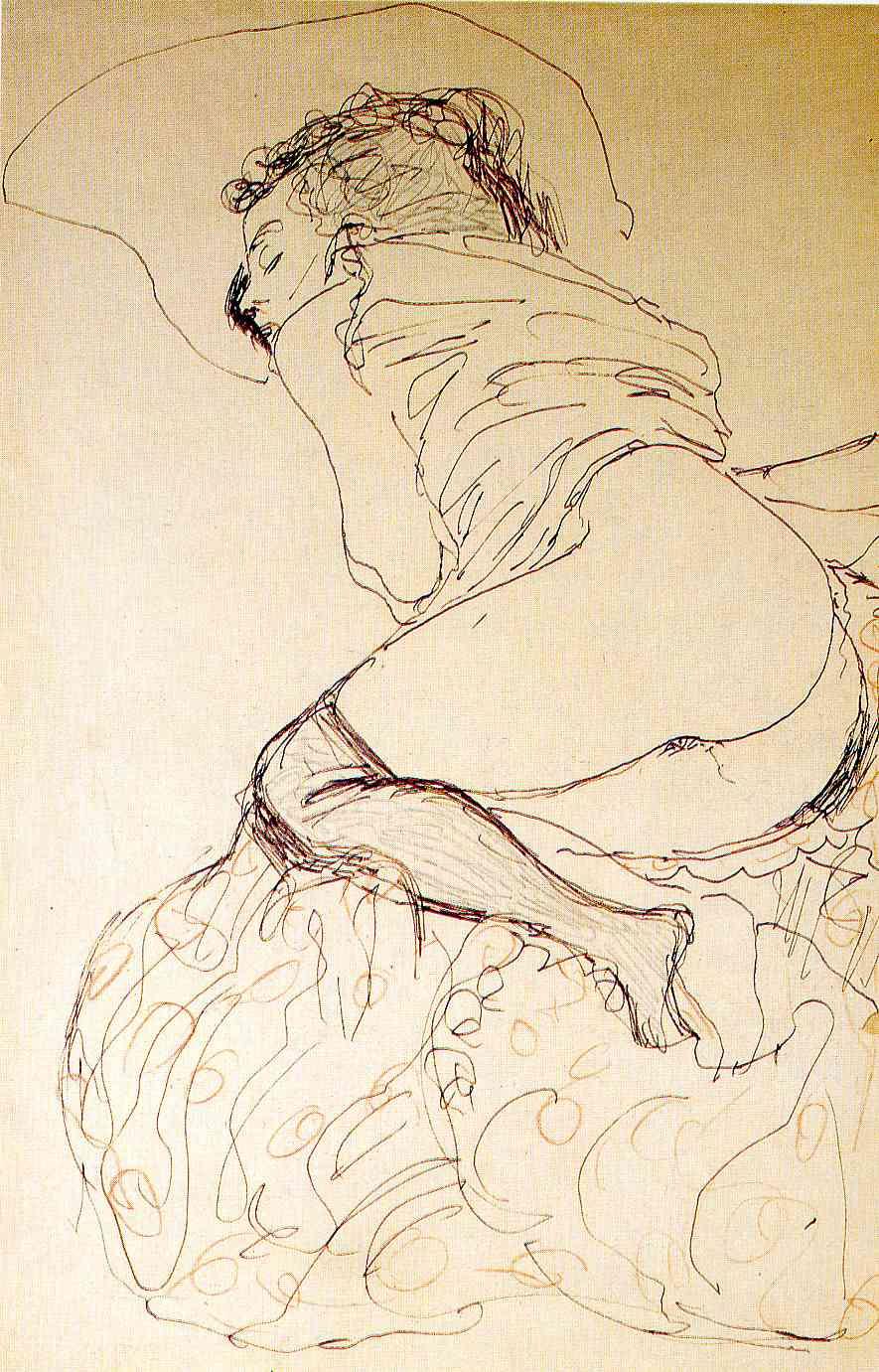 Gustav Klimt. Lying half-naked