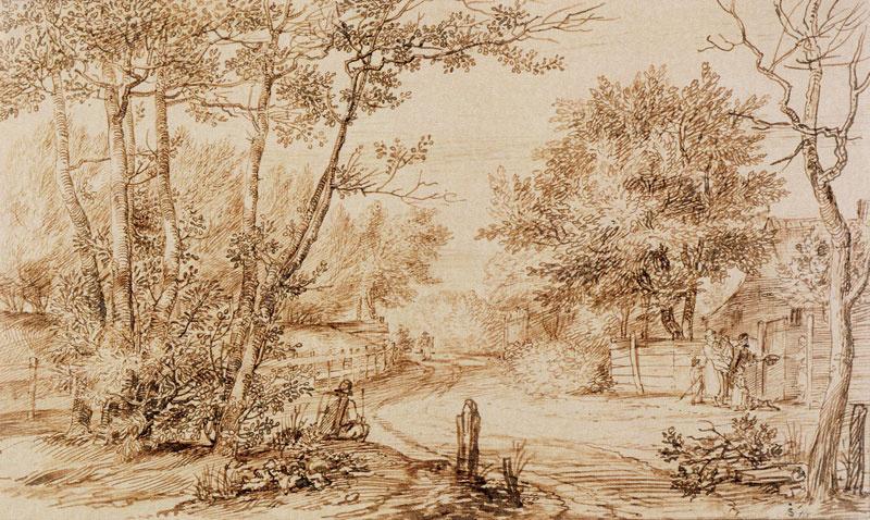Ян Ливенс. Пейзаж с деревенской дорогой