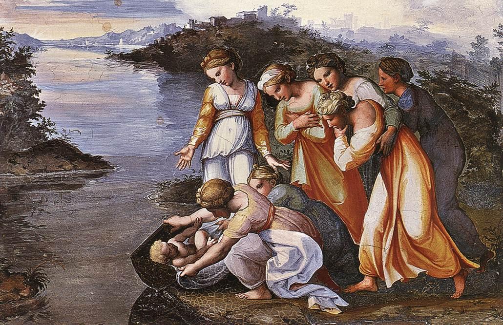 Рафаэль Санти. Нахождение Моисея или Спасение Моисея из воды. Фреска лоджии второго этажа дворца понтифика в Ватикане