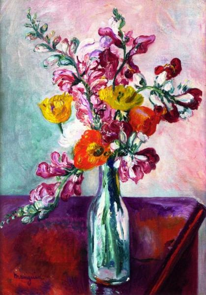 Henri Manguin. Bouquet with a lion's throat and poppies