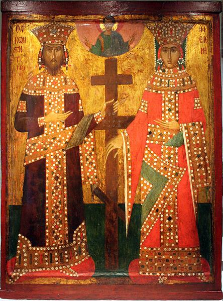 Неизвестный  художник. Император Константин и императрица Елена с Крестом Господним