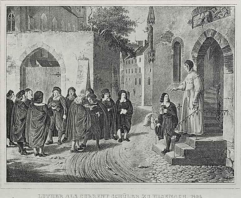 """Адольф фон Менцель. Иллюстрации к книге """"Жизнь Лютера"""", Лютер - студент в Айзенахе в 1498"""