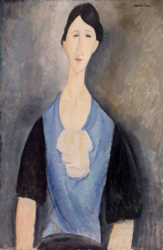 Amedeo Modigliani. Portrait of young woman in blue-blue dress