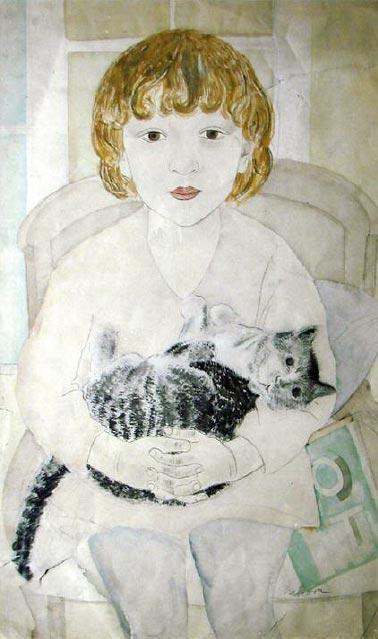 Александра Митрофановна Бельцова. Таня с кошкой