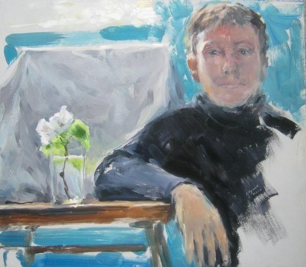 Eugene Krotov. Pear flower on the background of the portrait