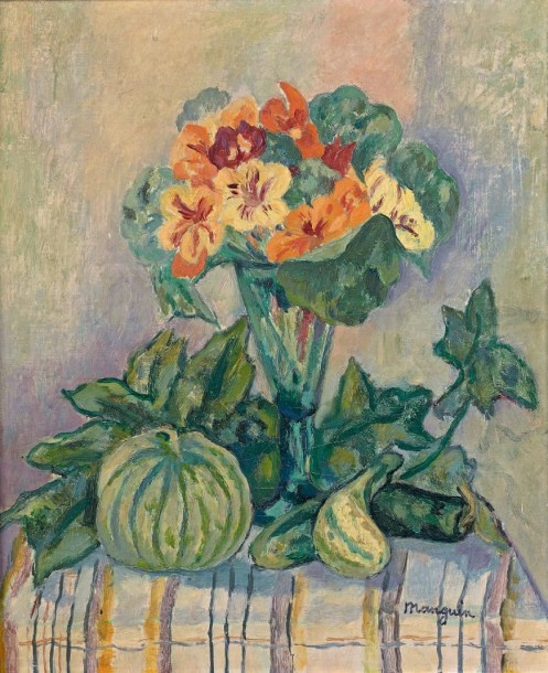Henri Manguin. Still life with flowers in a vase and a melon