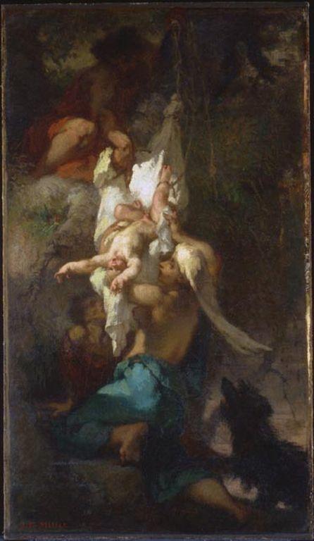 Жан-Франсуа Милле. Младенец Эдип, снимаемый с дерева