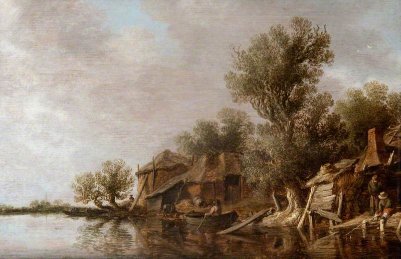 Jan van Goyen. The cottages and fishermen on the river