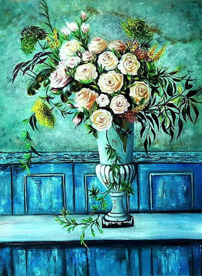 Irel Shulzhenko. Roses in an old vase