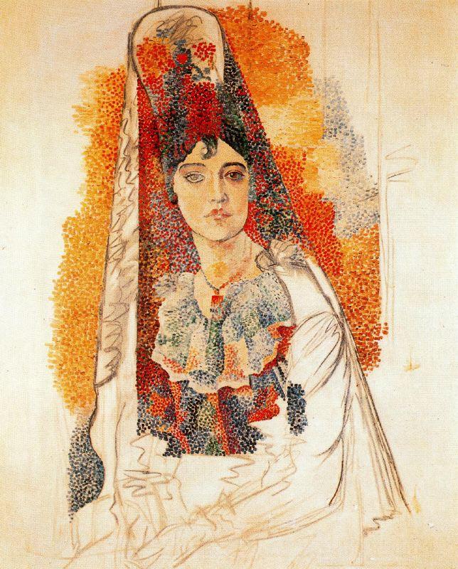 Пабло Пикассо. Женщина в мантилье