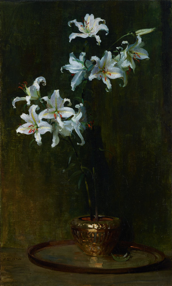 Arthur Ernest Streaton. Lilies in a gilded vase