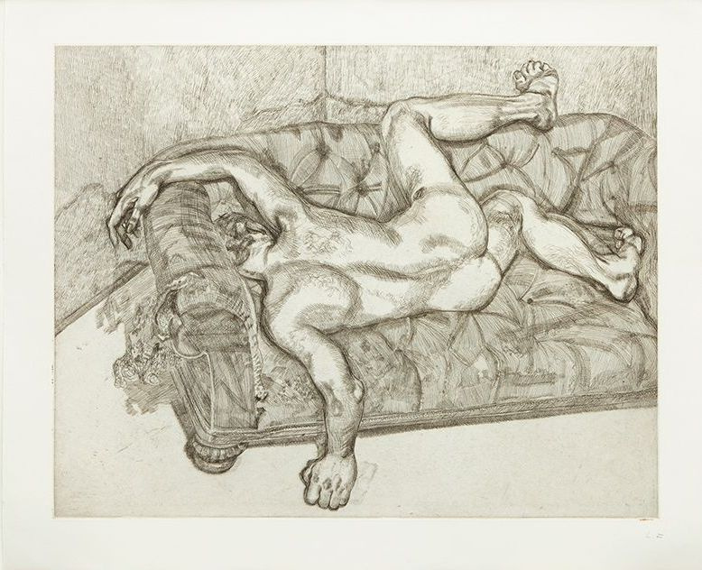 Lucien Freud. Nude man on the couch
