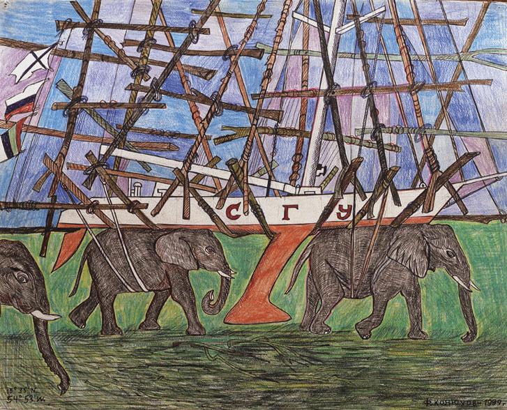 Фёдор Филлипович Конюхов. Слоны несут поврежденную яхту к финишу