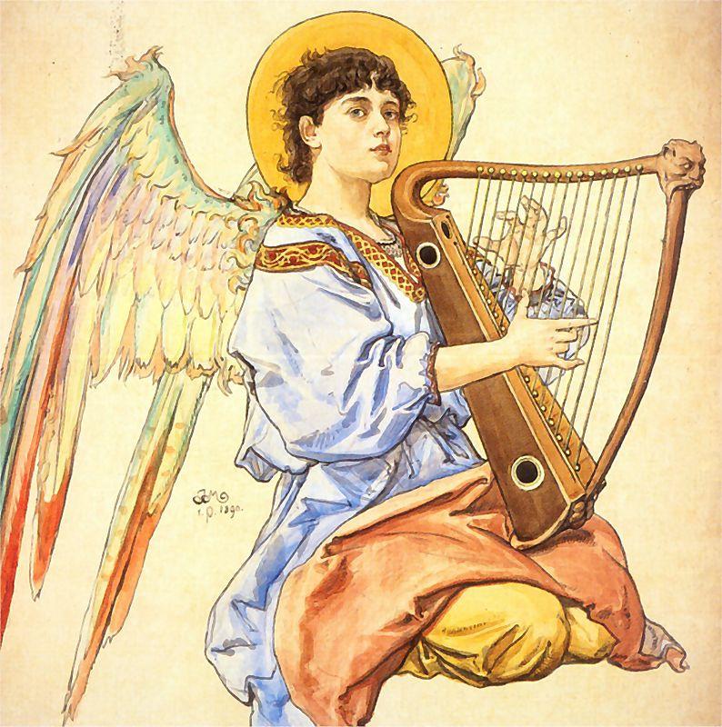 Ян Матейко. Ангел, играющий на арфе. Проект для церкви Святой Марии