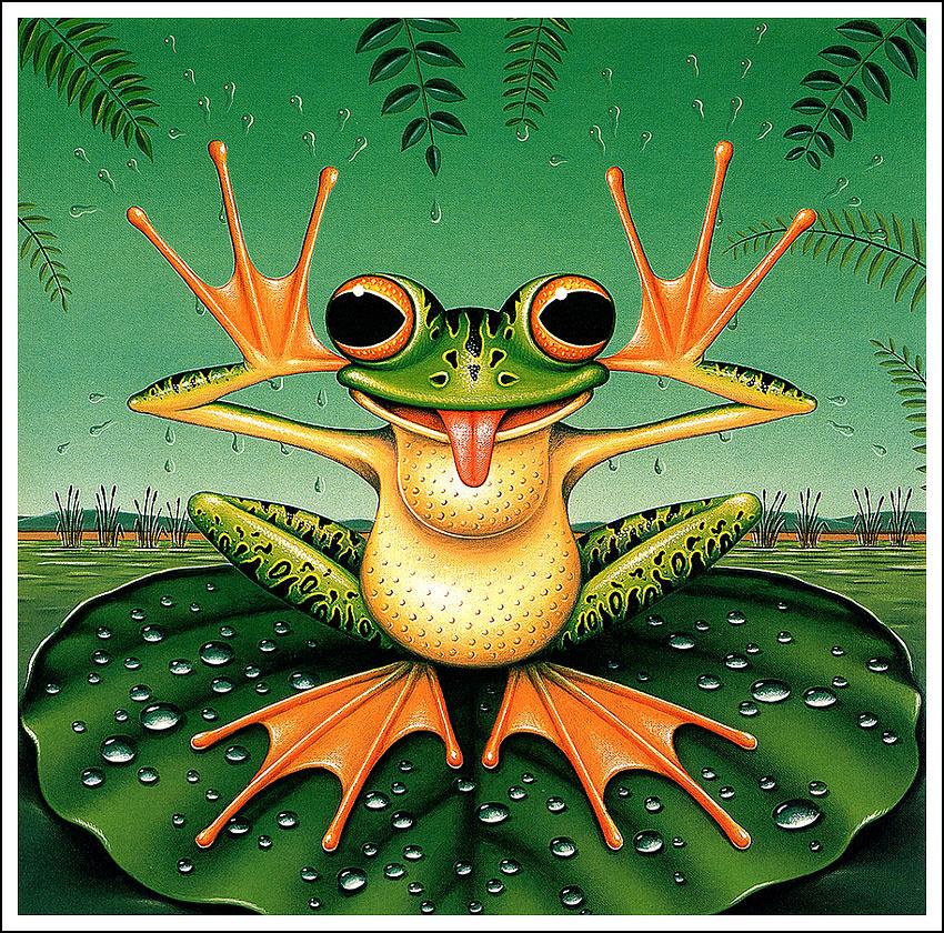 Веселая картинка с солнцем и лягушонком, открытку день