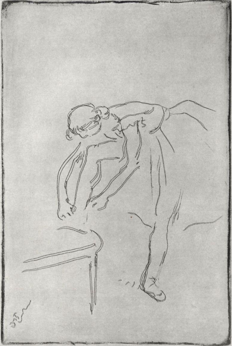 Edgar Degas. Dancer tying Pointe shoes