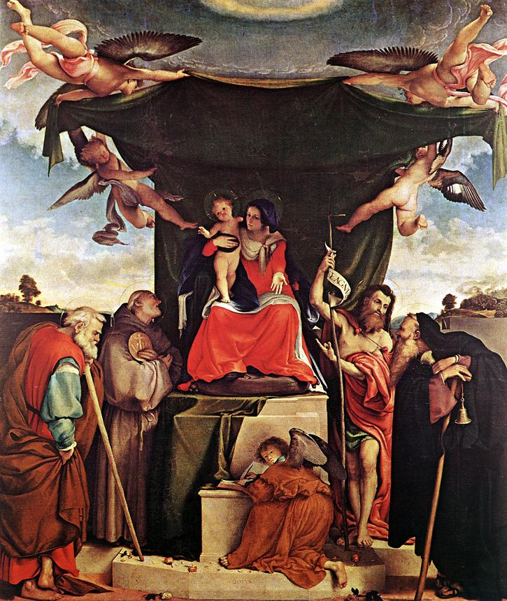 Лоренцо Лотто. Богородица с младенцем и ангелами