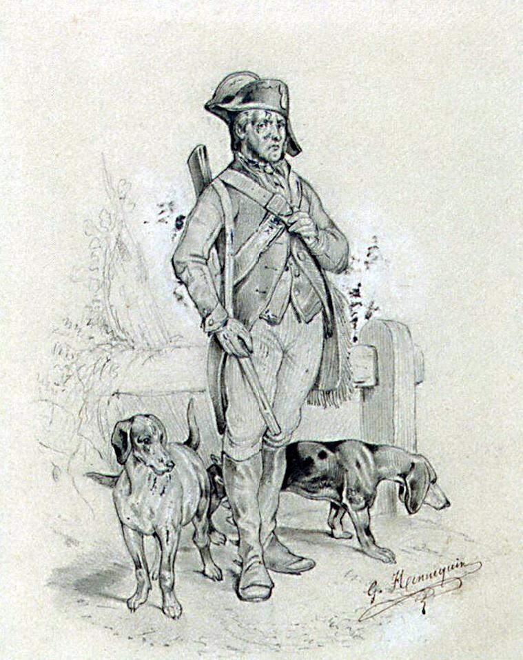 Г. Ханнекен. Этюд солдата с собаками