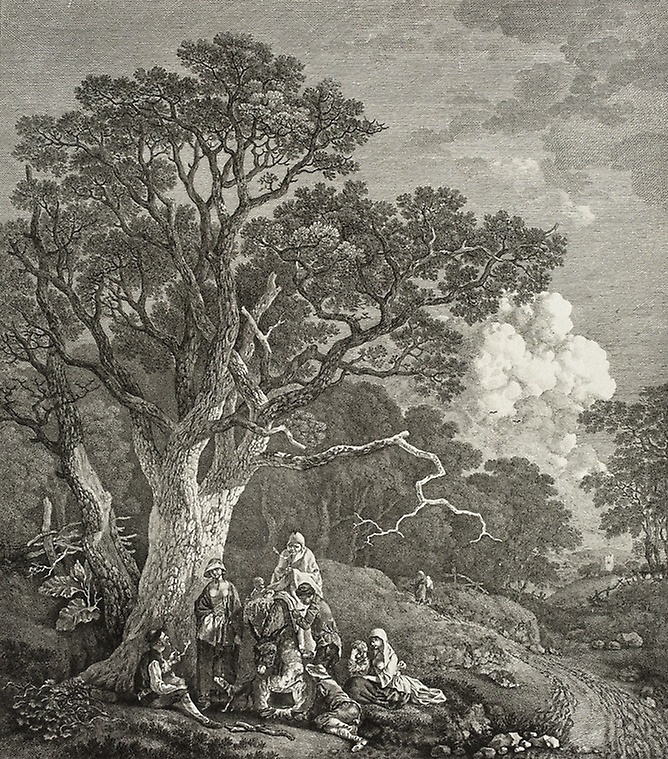 Томас Гейнсборо. Лесной пейзаж с цыганами у костра