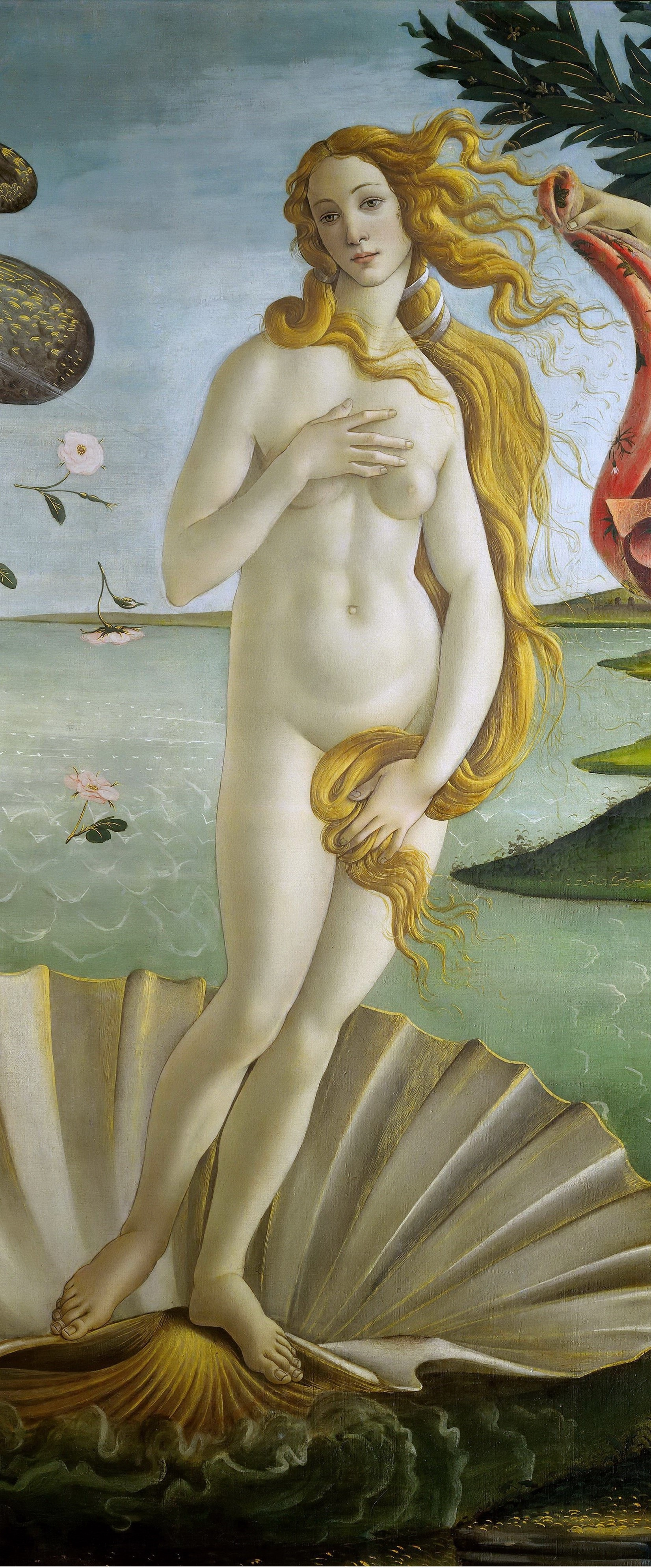 Sandro Botticelli. The birth of Venus (detail)