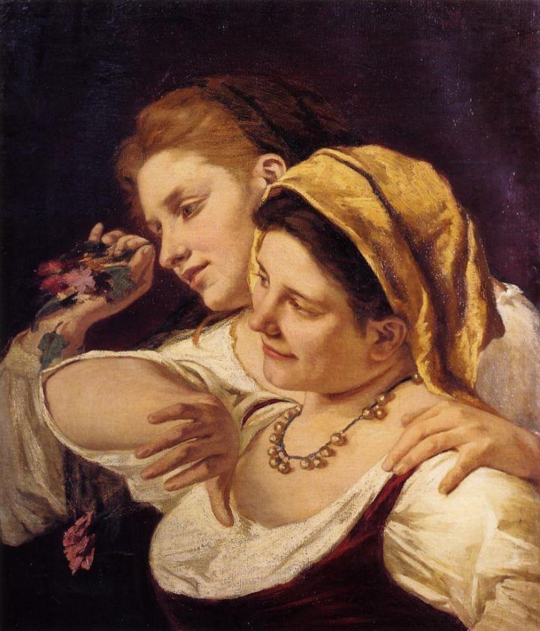 Mary Cassatt. Two women throwing flowers during carnival