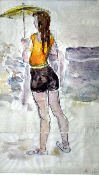Михаил Федорович Ларионов. Девушка на пляже