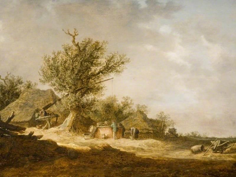 Jan van Goyen. Landscape in the dunes. Well