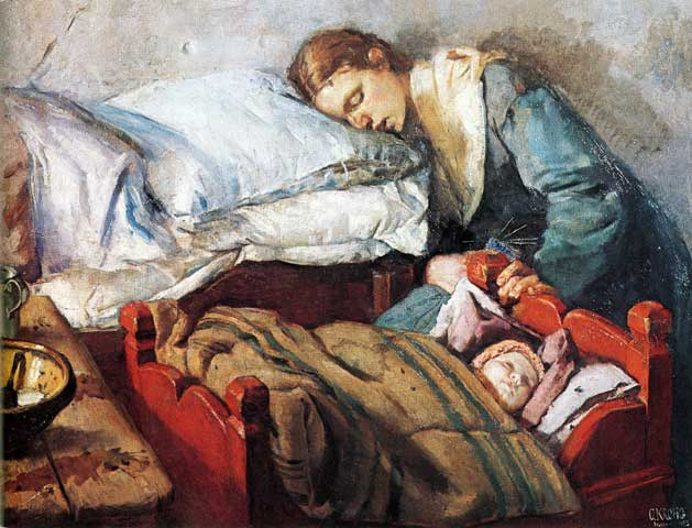 Christian Krogh. Sleeping mother with baby