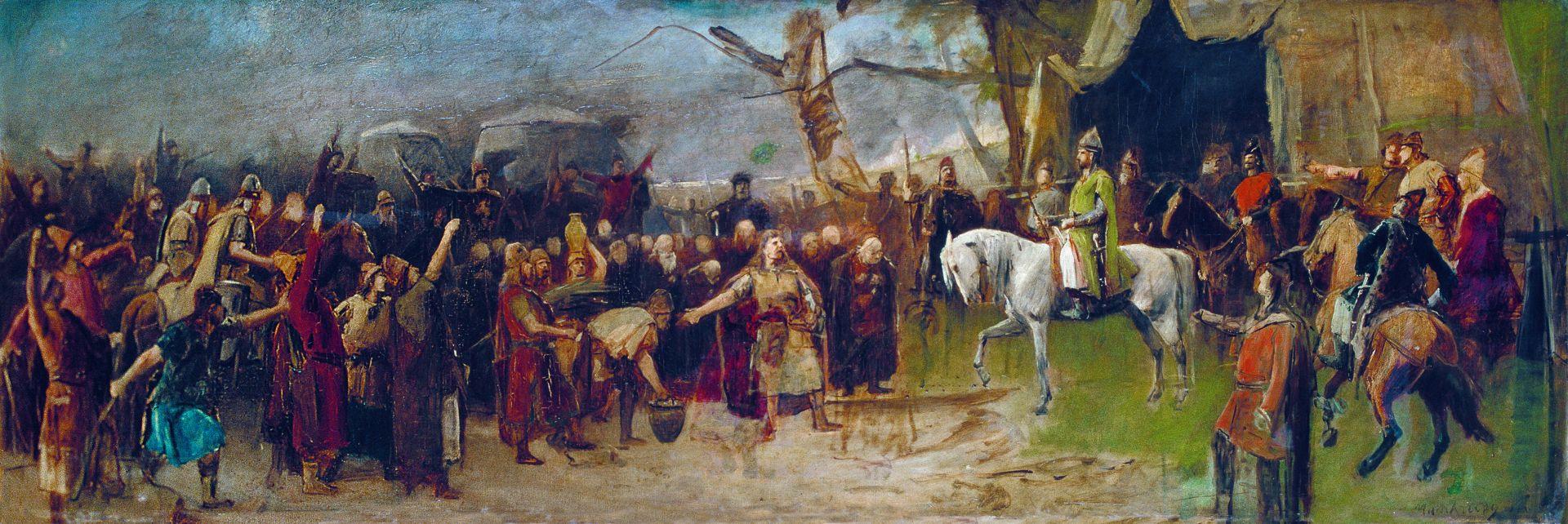 Михай Либ Мункачи. Завоевание. Поселение мадьяр в Венгрии. Эскиз