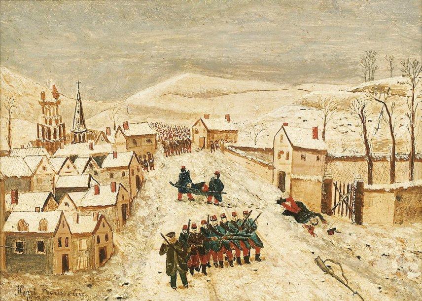 Анри Руссо. Зимний пейзаж с военной сценой