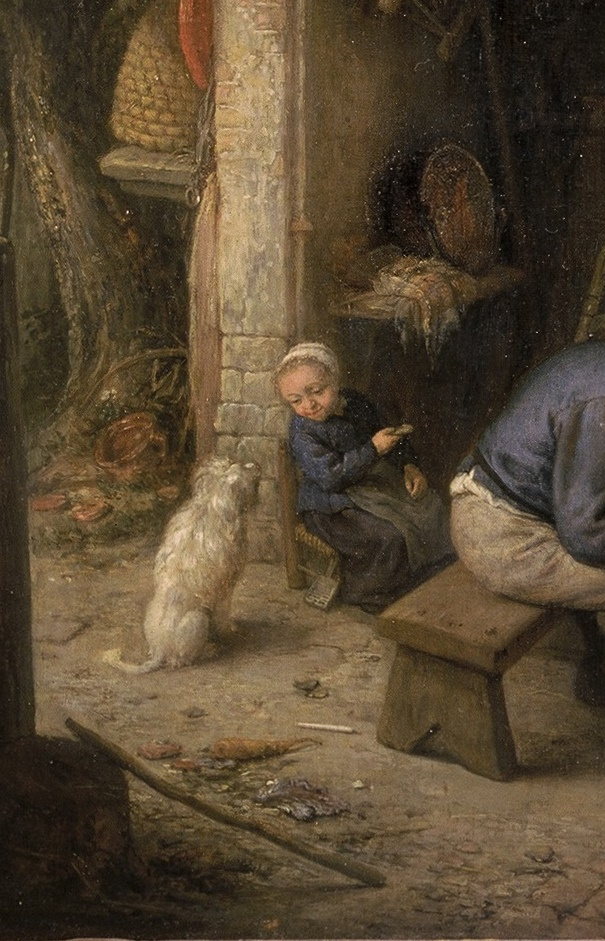 Adrian Jans van Ostade. Peasants in the tavern. Fragment. A girl with a dog