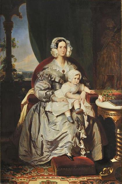Франц Ксавер Винтерхальтер. Мария Кристина Кэролайн Орлеанская, герцогиня Вютембергская и ее сын Филипп