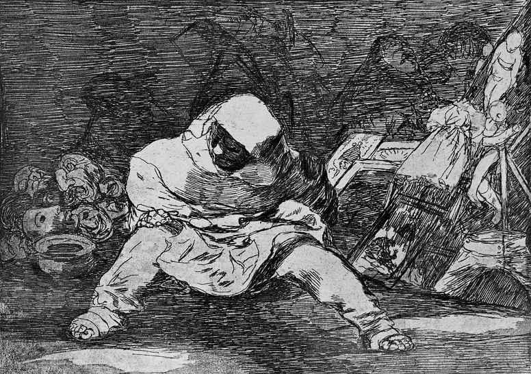 """Франсиско Гойя. Серия """"Бедствия войны"""", лист 68: Какое безумие!"""