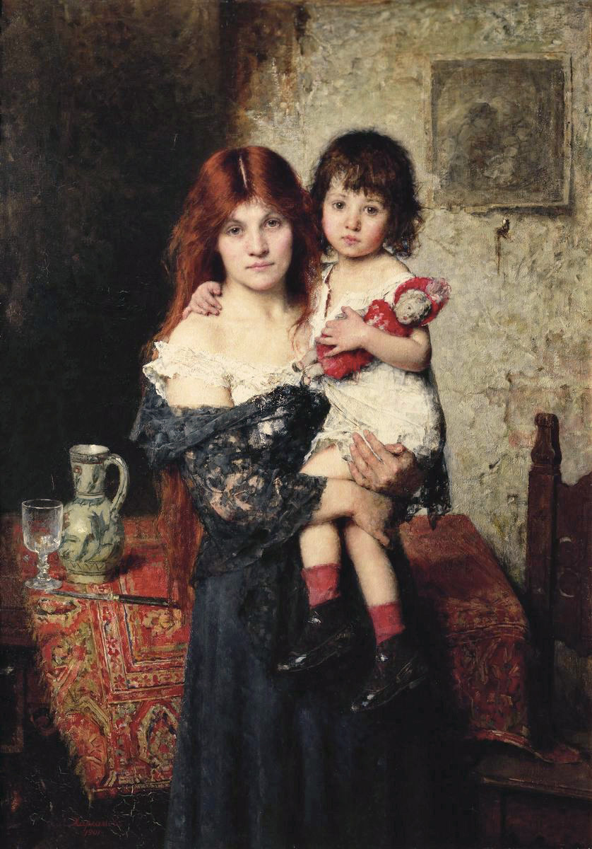 Alexey Alekseevich Kharlamov. Mother and daughter. 1901