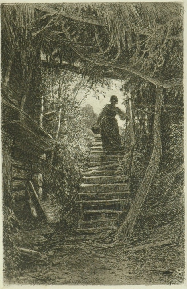 Ivan Ivanovich Shishkin. Peasant woman coming down the stairs