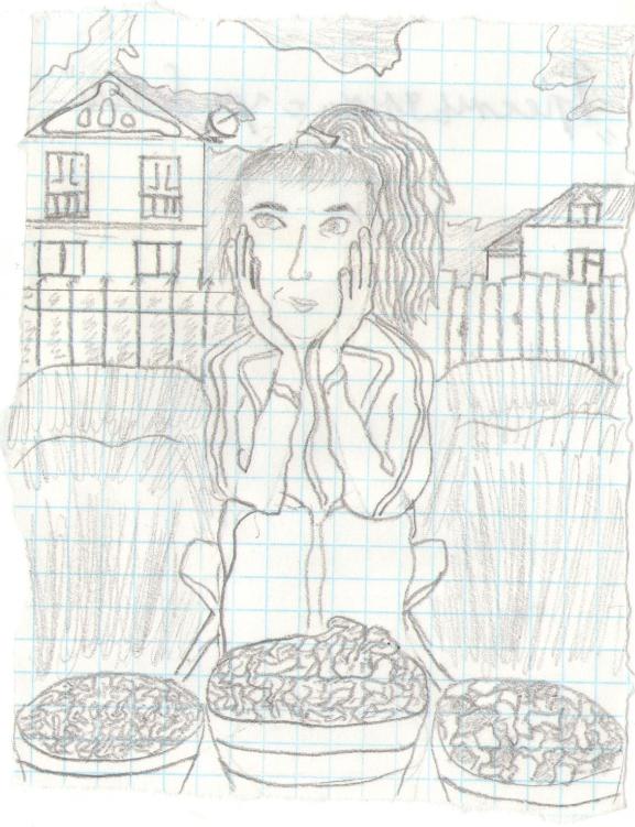 Procopius Merulla. Peasant girl sells mushrooms by the road