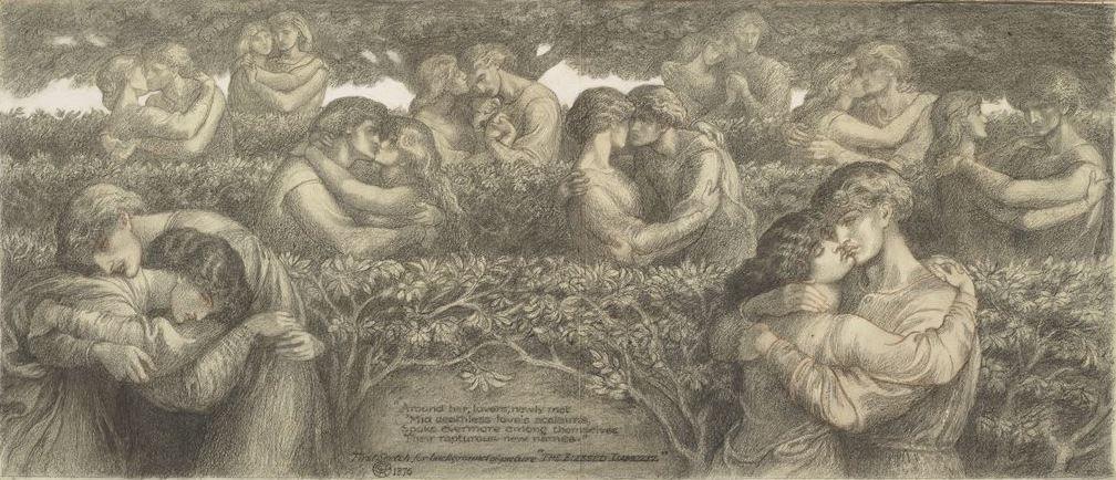 Данте Габриэль Россетти. Групповой эскиз для «Блаженного Дамозеля»