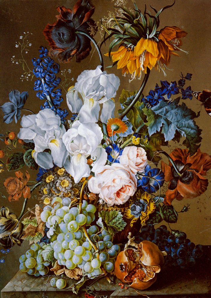 Anton Hartinger. Floral still life with a pomegranate, grapes and butterflies