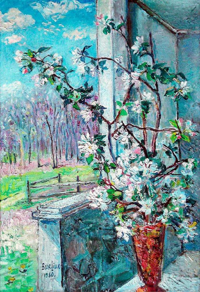 David Davidovich Burliuk. Flowering branch in a vase