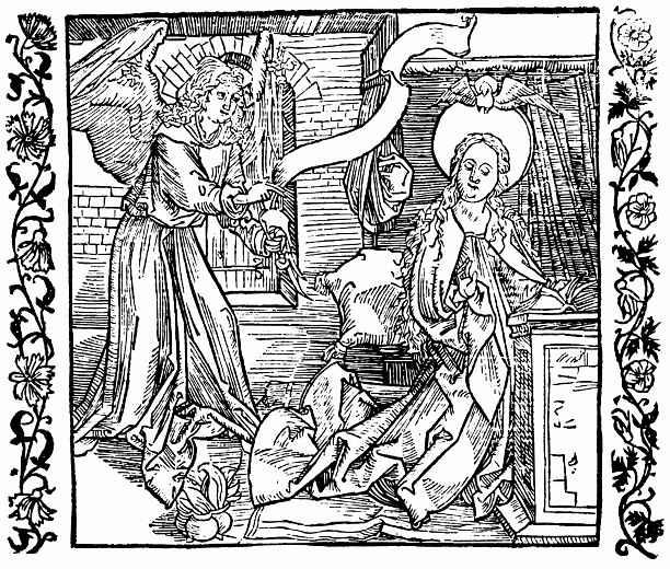 Альбрехт Дюрер. Иллюстрация к книге Рыцарь де ля Тур. Благовещение о рождестве Христовом